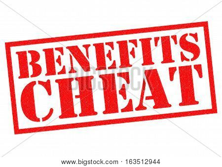 BENEFITS CHEAT red Rubber Stamp over a white background.