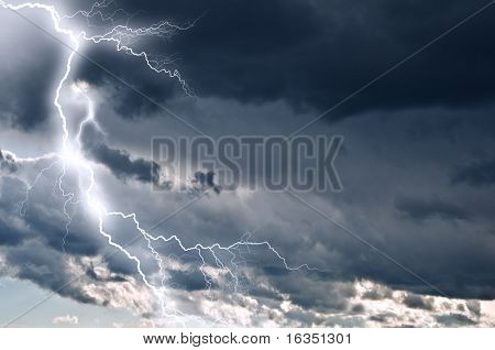 lightning in dark cloudy sky