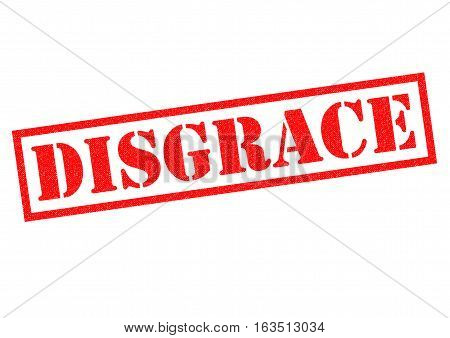 DISGRACE red Rubber Stamp over a white background.