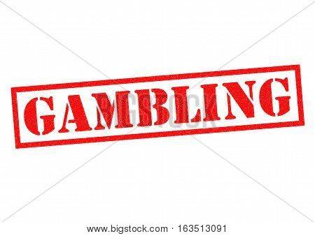 GAMBLING red Rubber Stamp over a white background.