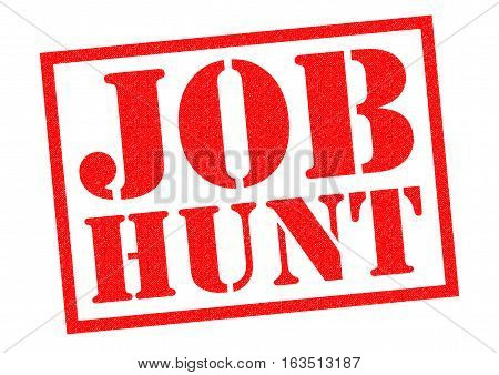 JOB HUNT red Rubber Stamp over a white background.