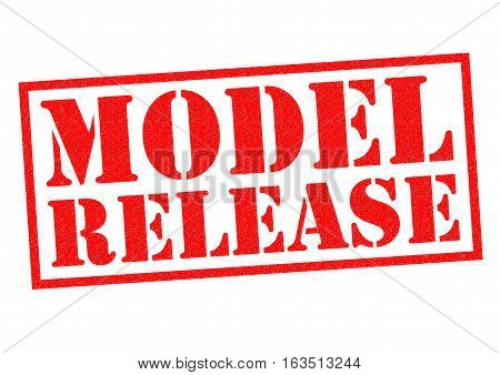 MODEL RELEASE red Rubber Stamp over a white background.