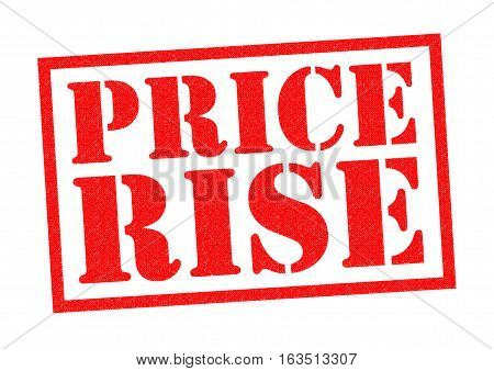 PRICE RISE red Rubber Stamp over a white background.