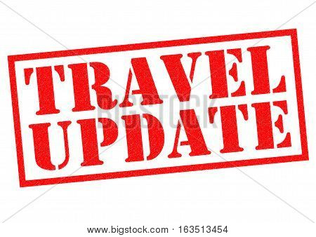 TRAVEL UPDATE red Rubber Stamp over a white background.