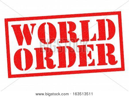 WORLD ORDER red Rubber Stamp over a white background.