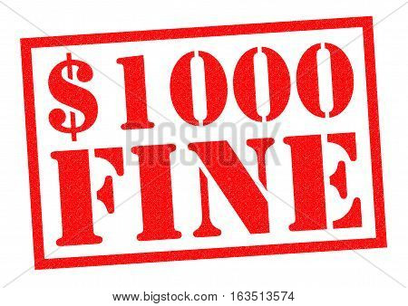 $1000 FINE red Rubber Stamp over a white background.