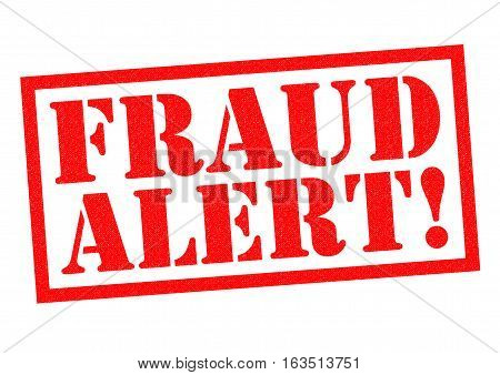 FRAUD ALERT! red Rubber Stamp over a white background.