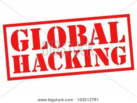 GLOBAL HACKING red Rubber Stamp over a white background.