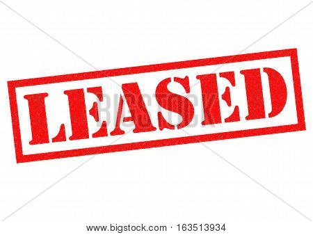 LEASED red Rubber Stamp over a white background.
