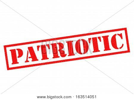PATRIOTIC red Rubber Stamp over a white background.