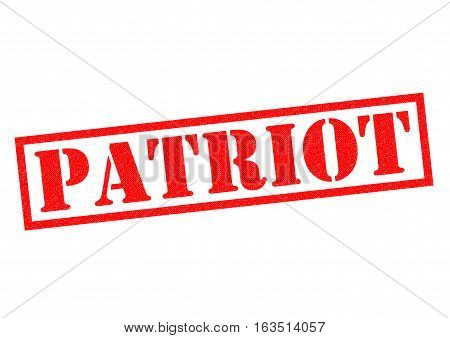 PATRIOT red Rubber Stamp over a white background.