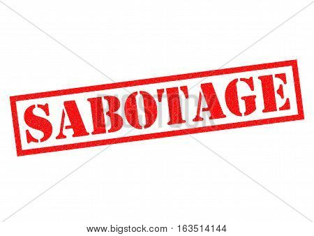 SABOTAGE red Rubber Stamp over a white background.