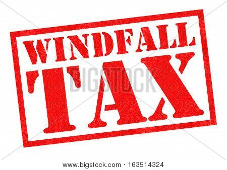 WINDFALL TAX red Rubber Stamp over a white background.