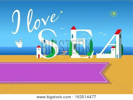 I love sea. Travel card. White buildings on the summer beach. Pink banner for custom text. Plane in the sky.
