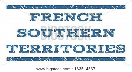 French Southern Territories watermark stamp. Text tag between horizontal parallel lines with grunge design style. Rubber seal stamp with scratched texture.