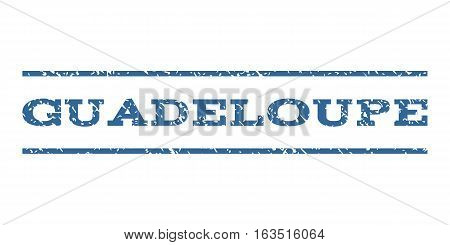 Guadeloupe watermark stamp. Text tag between horizontal parallel lines with grunge design style. Rubber seal stamp with unclean texture. Vector cobalt color ink imprint on a white background.