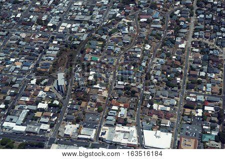 Aerial of Kaimuki Neighborhood leading towards Palolo Valley on Oahu Hawaii. April 2016.