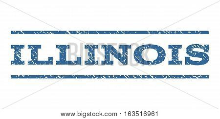 Illinois watermark stamp. Text tag between horizontal parallel lines with grunge design style. Rubber seal stamp with dirty texture. Vector cobalt color ink imprint on a white background.