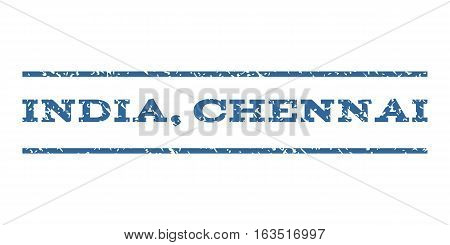 India, Chennai watermark stamp. Text tag between horizontal parallel lines with grunge design style. Rubber seal stamp with unclean texture. Vector cobalt color ink imprint on a white background.