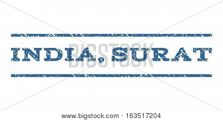 India, Surat watermark stamp. Text caption between horizontal parallel lines with grunge design style. Rubber seal stamp with unclean texture. Vector cobalt color ink imprint on a white background.