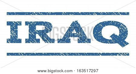 Iraq watermark stamp. Text tag between horizontal parallel lines with grunge design style. Rubber seal stamp with dirty texture. Vector cobalt color ink imprint on a white background.