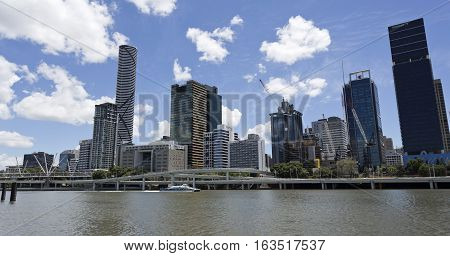 BRISBANE, AUSTRALIA - December 28, 2016: View of the Brisbane central business district seen from the Brisbane River in South Bank
