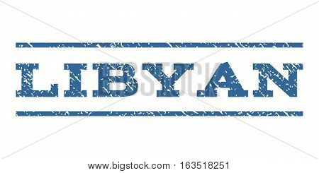 Libyan watermark stamp. Text tag between horizontal parallel lines with grunge design style. Rubber seal stamp with scratched texture. Vector cobalt color ink imprint on a white background.