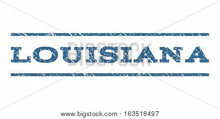 Louisiana watermark stamp. Text caption between horizontal parallel lines with grunge design style. Rubber seal stamp with dust texture. Vector cobalt color ink imprint on a white background.