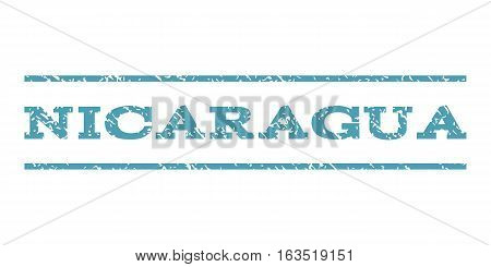 Nicaragua watermark stamp. Text tag between horizontal parallel lines with grunge design style. Rubber seal stamp with scratched texture. Vector cyan color ink imprint on a white background.