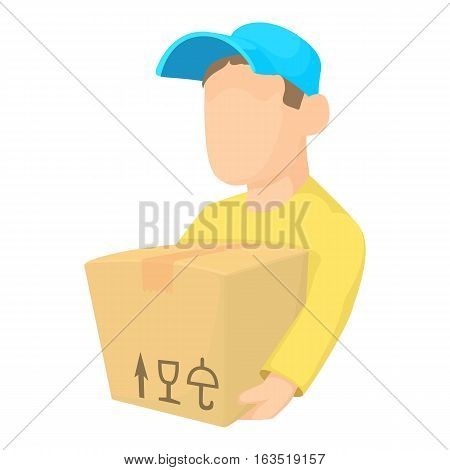 Loader man icon. Cartoon illustration of loader man vector icon for web