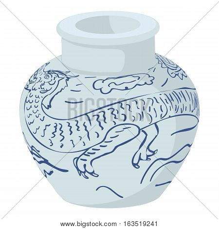 Chinese vase icon. Cartoon illustration of chinese vase vector icon for web
