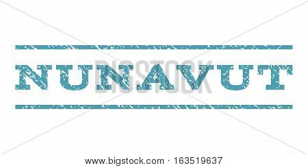 Nunavut watermark stamp. Text caption between horizontal parallel lines with grunge design style. Rubber seal stamp with dirty texture. Vector cyan color ink imprint on a white background.