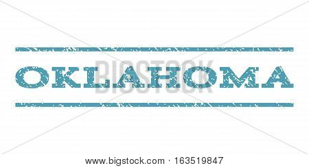Oklahoma watermark stamp. Text tag between horizontal parallel lines with grunge design style. Rubber seal stamp with unclean texture. Vector cyan color ink imprint on a white background.