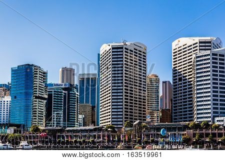 Sydney, Australia,  April 27, 2016: High rise buildings by Darling Harbour.