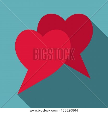 Two hearts icon. Flat illustration of two hearts vector icon for web