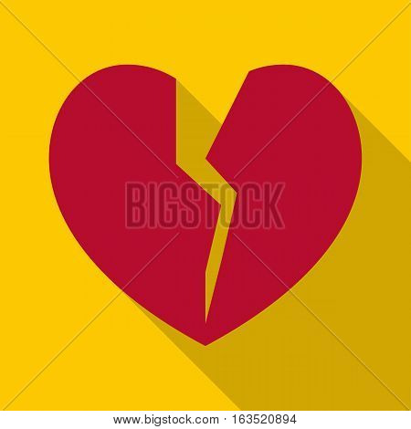 Broken heart icon. Flat illustration of broken heart vector icon for web