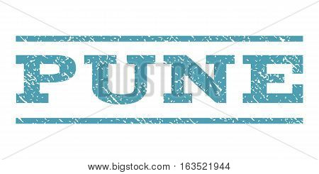 Pune watermark stamp. Text tag between horizontal parallel lines with grunge design style. Rubber seal stamp with scratched texture. Vector cyan color ink imprint on a white background.