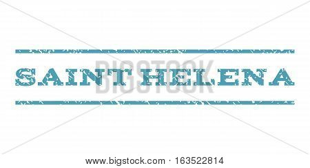 Saint Helena watermark stamp. Text tag between horizontal parallel lines with grunge design style. Rubber seal stamp with unclean texture. Vector cyan color ink imprint on a white background.