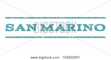 San Marino watermark stamp. Text caption between horizontal parallel lines with grunge design style. Rubber seal stamp with dust texture. Vector cyan color ink imprint on a white background.