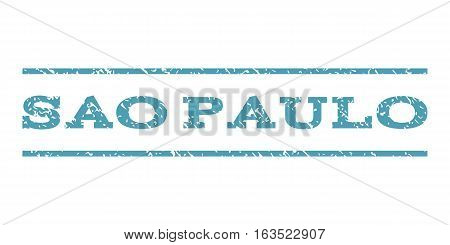 Sao Paulo watermark stamp. Text caption between horizontal parallel lines with grunge design style. Rubber seal stamp with dirty texture. Vector cyan color ink imprint on a white background.