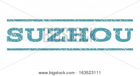 Suzhou watermark stamp. Text tag between horizontal parallel lines with grunge design style. Rubber seal stamp with dirty texture. Vector cyan color ink imprint on a white background.