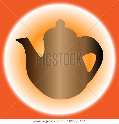teapot Icon isolated on Orange background . Vector illustration with eps 10