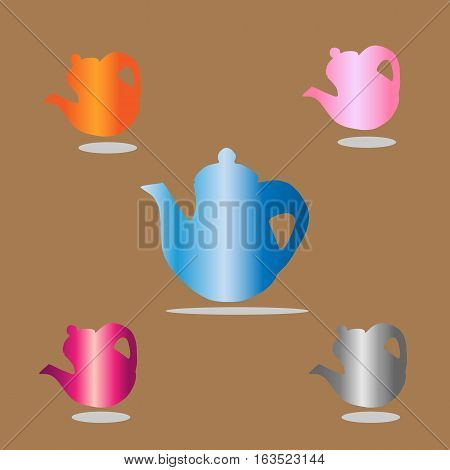 teapot Icon beautiful isolated on brown background . Vector illustration with eps 10