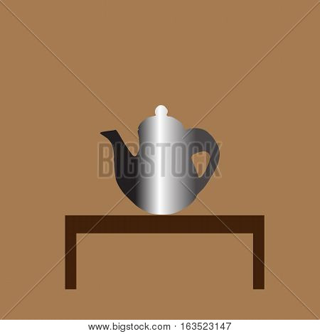 teapot Icon on the table isolated on brown background . Vector illustration with eps 10