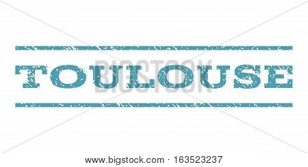 Toulouse watermark stamp. Text tag between horizontal parallel lines with grunge design style. Rubber seal stamp with scratched texture. Vector cyan color ink imprint on a white background.