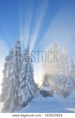 Grouse Mountain With Fresh Snow And Misty Sun Rays