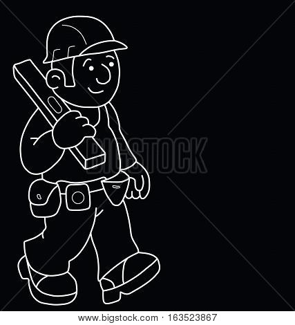 Monochrome outline cartoon builder with copy space for own text isolated on black background