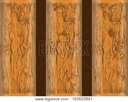 wooden plank brown pattern texture and gnarl line surface beautiful board for background. Vector illustration Eps10