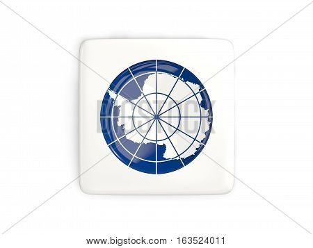 Square Button With Round Flag Of Antarctica