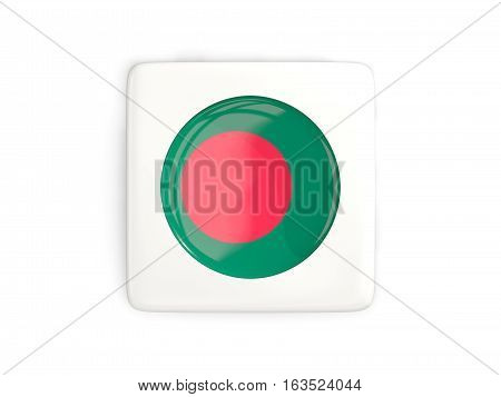 Square Button With Round Flag Of Bangladesh
